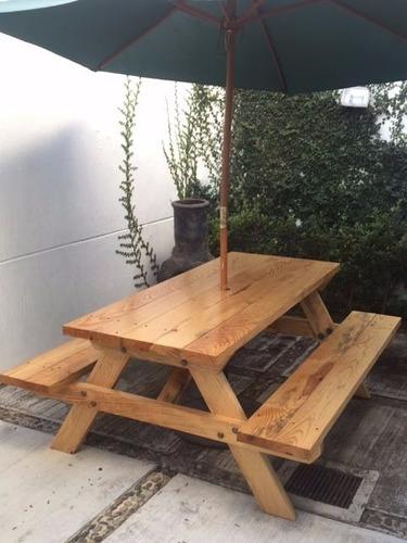Mesa picnic jardin terraza camping de madera furte for Mesas de terraza baratas