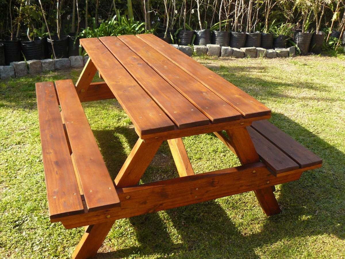 Mesa picnic jardin terraza camping de madera furte for Mesa de jardin extensible