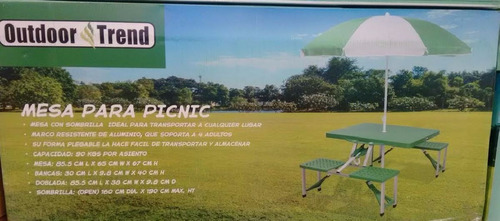 mesa picnic plegable banca alumio playa sombrilla