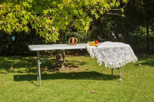 mesa picnic plegable blanca 1,80 mts garden life