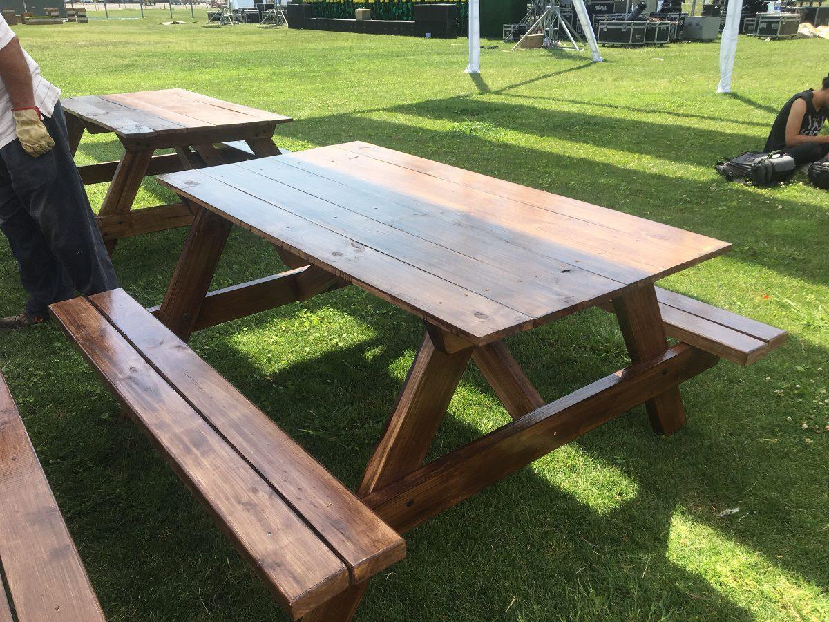 Mesa picnic terraza camping madera barniz en for Mesa de camping de madera