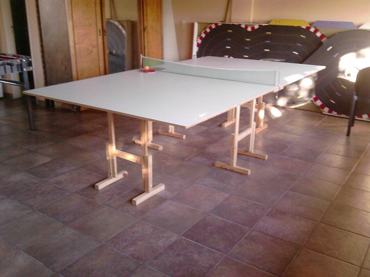 Mesa Ping Pong Casera Con Caballetes 2 300 00 En Mercado Libre