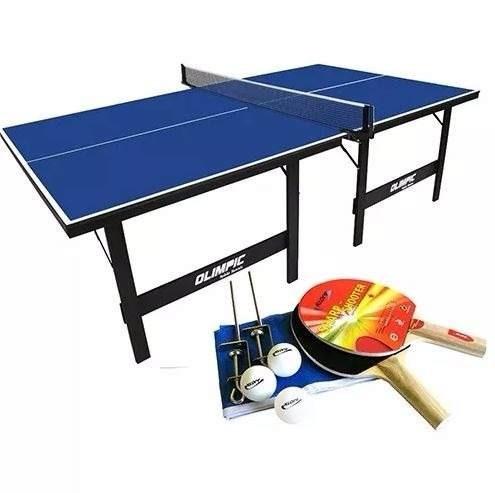 mesa ping pong tênis mesa olimpic 1013 + kit raquetes 5030