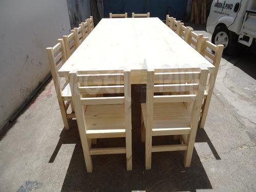 mesa pino 3 x 1,20 m pata 4x4 + 14 sillas 4 fajas argen pino