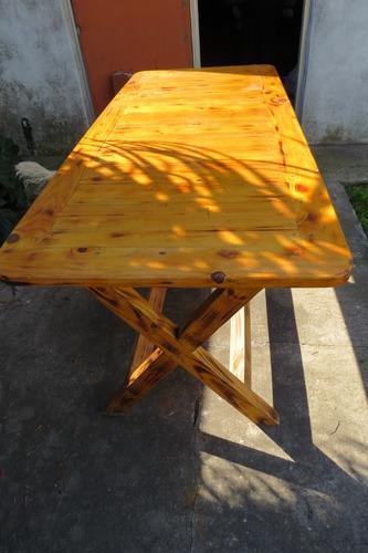 mesa pino pintado a fuego barnizado sillon impecable estado
