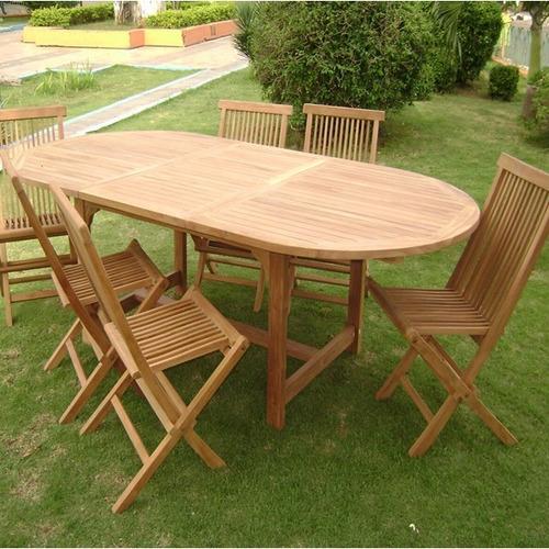 Mesa p jard n oval 6 sillas plegables en madera teka u for Sillas teka jardin