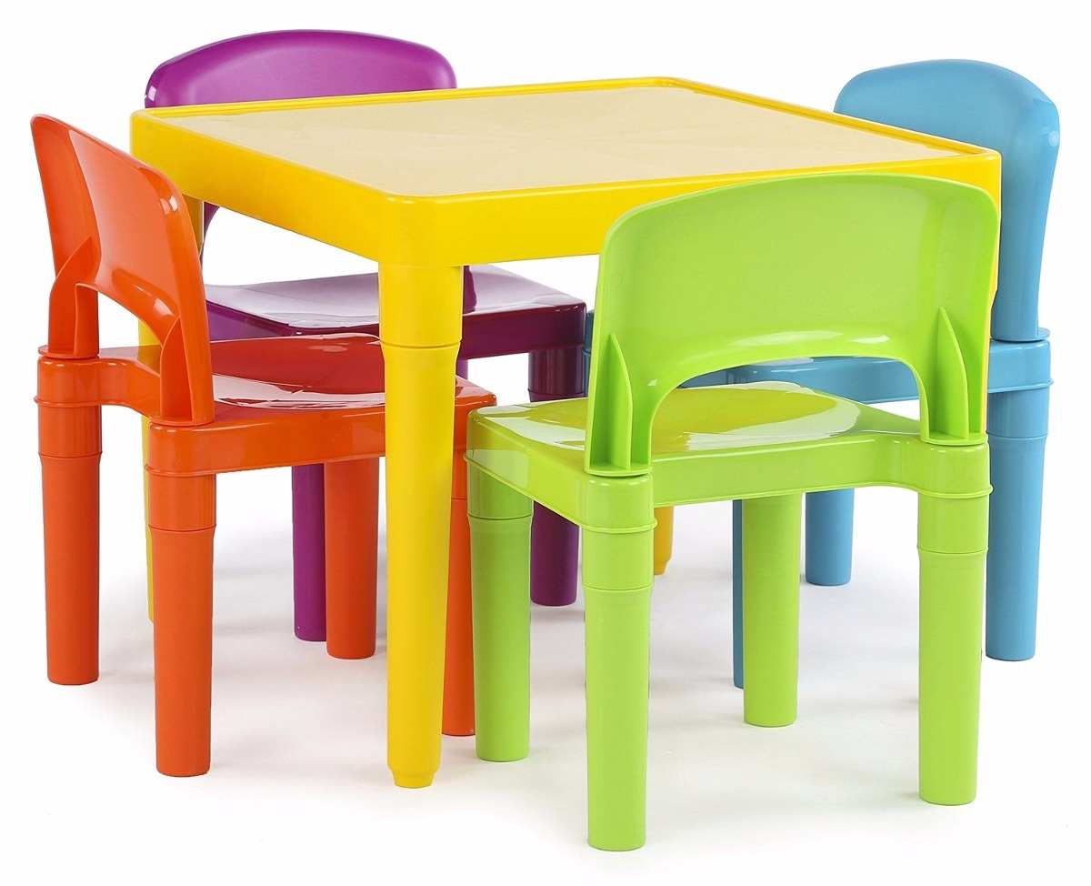 Mesa Plástica Con 4 Sillas Para Niños Tot Tutors Set Colores ...