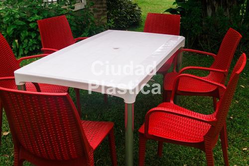 mesa plástica rectangular 1,40 x 80 cm patas de caño