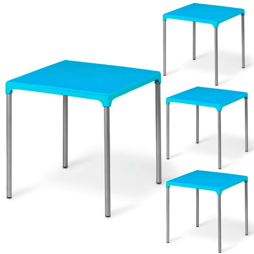 mesa plástico azul c/ pés em alumínio jasmim planmar kit 4