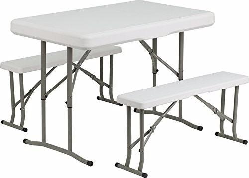 mesa plastico plegable con bancos playa acampar jardin