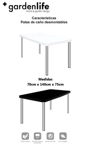 mesa plastico rectangular patas metalicas tokio garden life