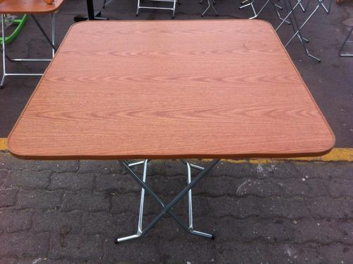 mesa plegable 90x90 melamina metal modelo redondo o cuadrado