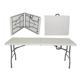 Mesa Plegable Alta Calidad Color  Blanco 180x74x75 Cms