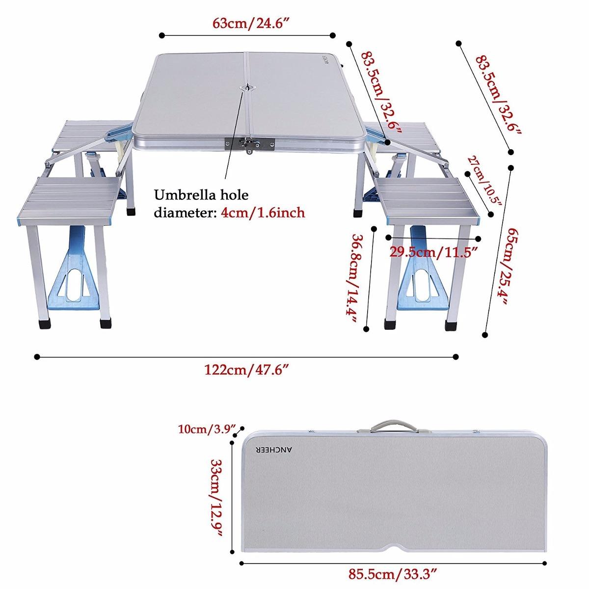 Mesa plegable ancheer aluminio tabla portable 4 asientos for Mesa plegable con asientos