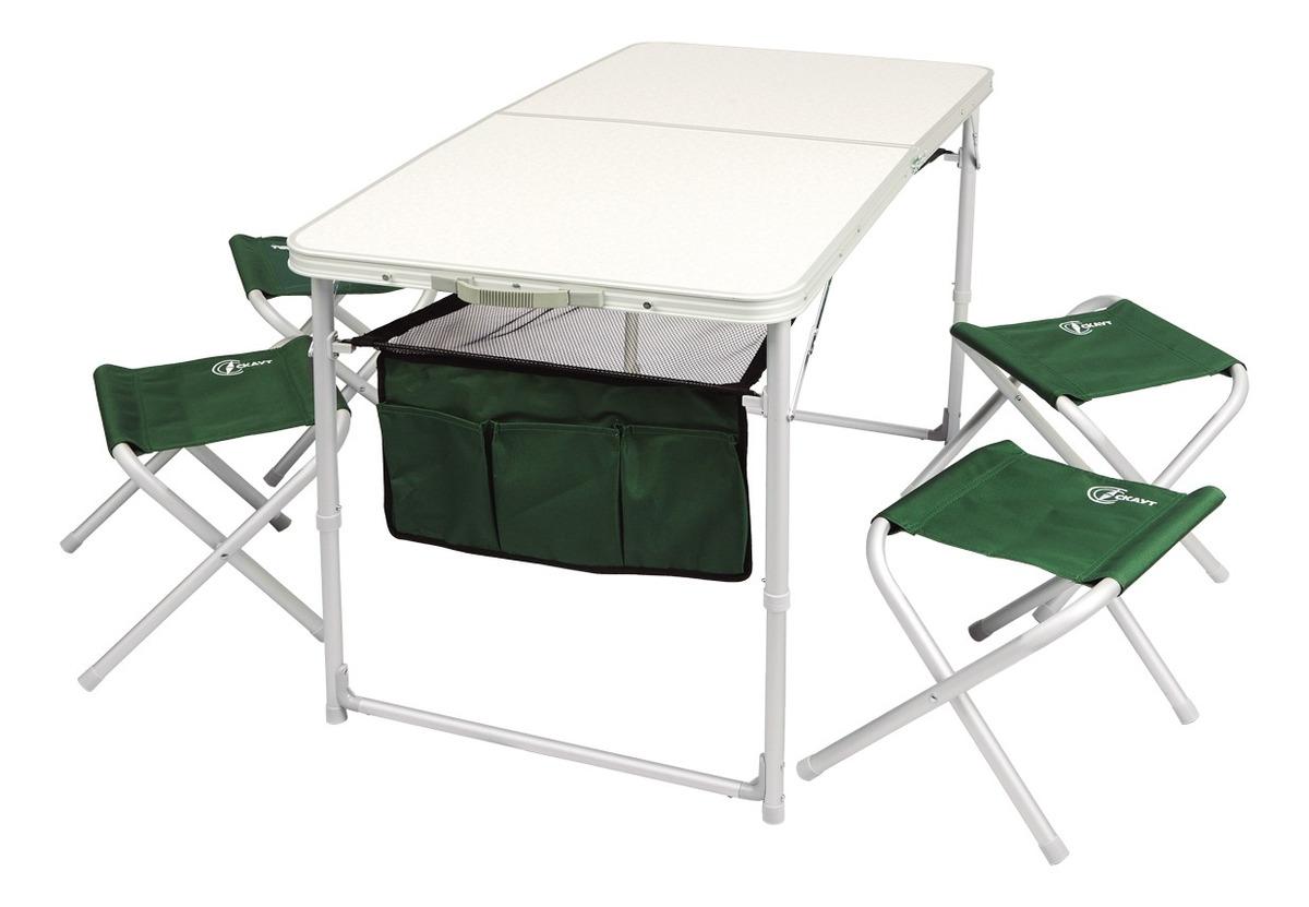 Mesa Plegable De Camping Con 4 Sillas.Mesa Plegable Camping Waterdog 4 Sillas Banquitos Con Bolso