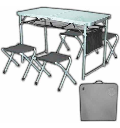 mesa plegable ckayt de waterdog con 4 bancos aluminio local