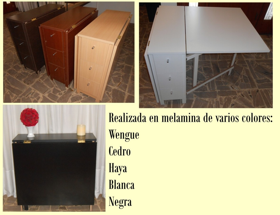 Mesa plegable cocina comedor madera auxiliar for Mesa auxiliar cocina plegable