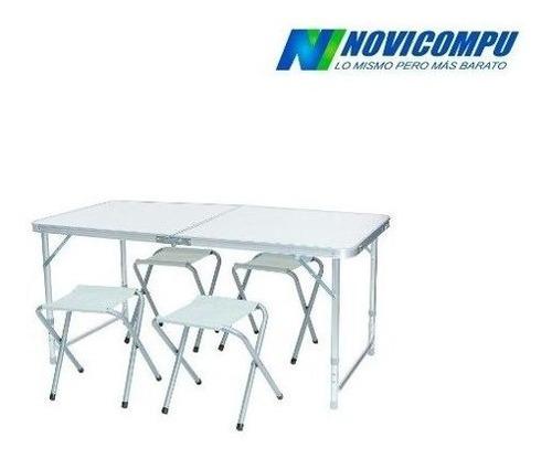 mesa plegable color blanco mas 4 sillas plegagles