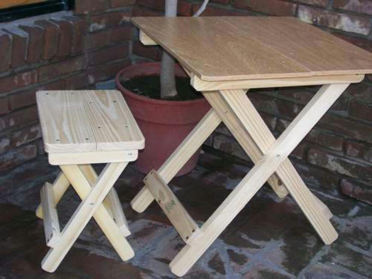 Mesa plegable con 4 bancos bs en mercado libre - Como hacer una mesa plegable ...