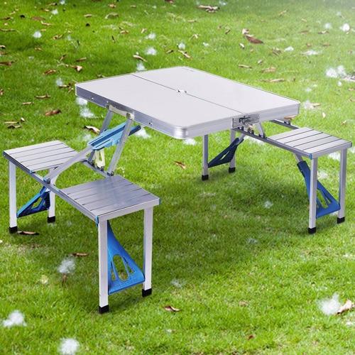 mesa plegable con 4 sillas de aluminio portátil para picnic