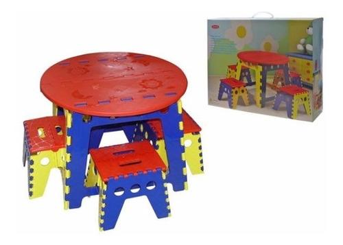 mesa plegable con 4 sillas para niño varios colores