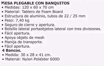 mesa plegable con bancos