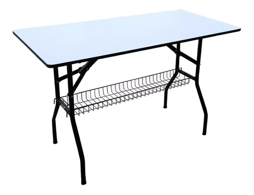 mesa plegable con parrilla de medidas 60x120x75