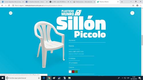 mesa plegable de 75 cm + 4 sillones piccolo  plásticos munro