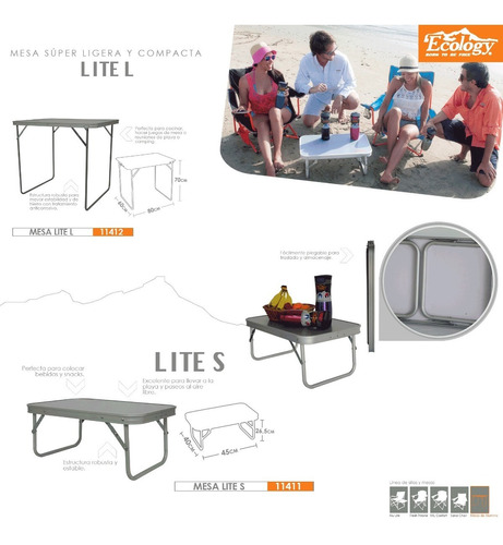 mesa plegable de aluminio banquetera camping lite s ecology