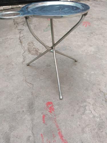 mesa plegable de aluminio para botanas y base para vasos