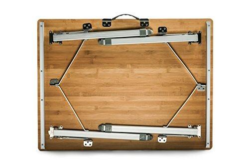 mesa plegable de camco 51893, de bambu, con patas de alumini