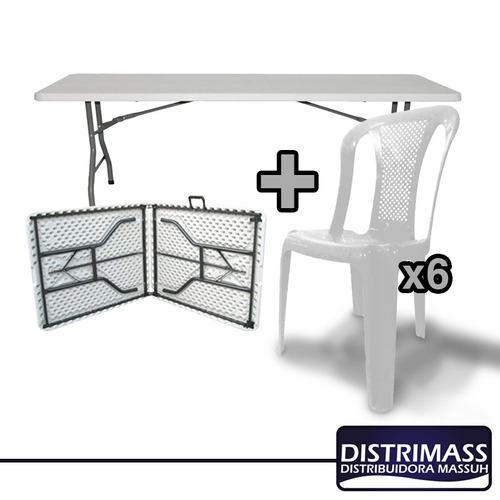 mesa plegable de plasitco ideal para ferias 6 sillas gratis
