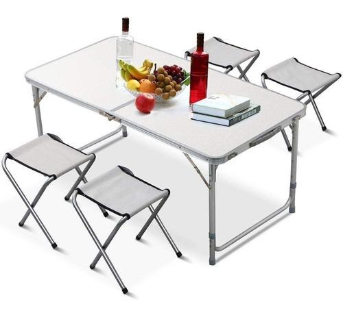 mesa plegable maleta camping + 4 sillas 120x60