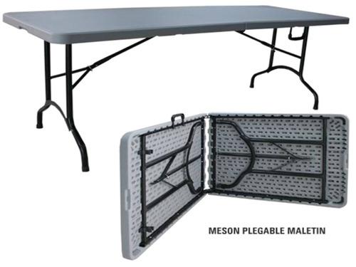 mesa plegable maletin 180cm+ mantel y cubremantel. nuevos