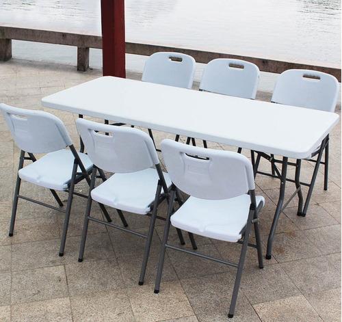 mesa plegable maletin banquetera180x75cm promo daño estetico
