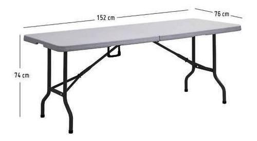 mesa plegable mesón  plástica 152 x 70 x 74 cm camping