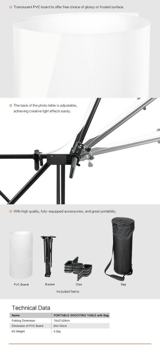 Mesa plegable para fotografia de estudio 60x130cm c - Mesa estudio plegable ...