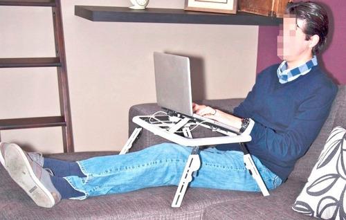 mesa plegable para laptop, de plástico, 2 coolers