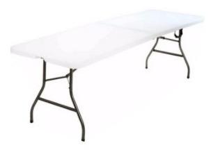 mesa plegable, plastica, en polipropileno