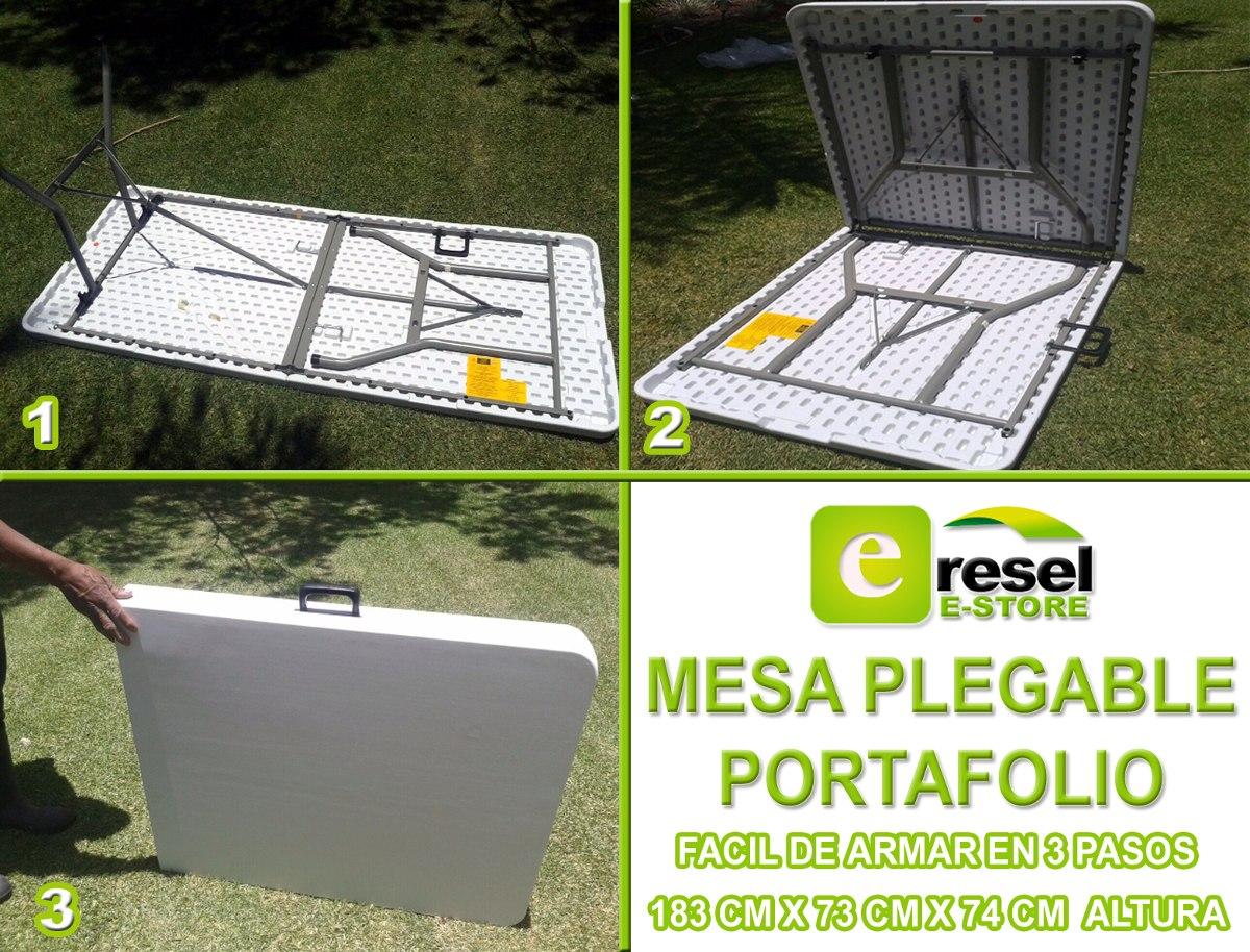 Mesa plegable plastico reforzada tip portafolio for Mesas de jardin de plastico