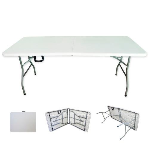 mesa plegable plastico tipo portafolio 1.80m jardin evento