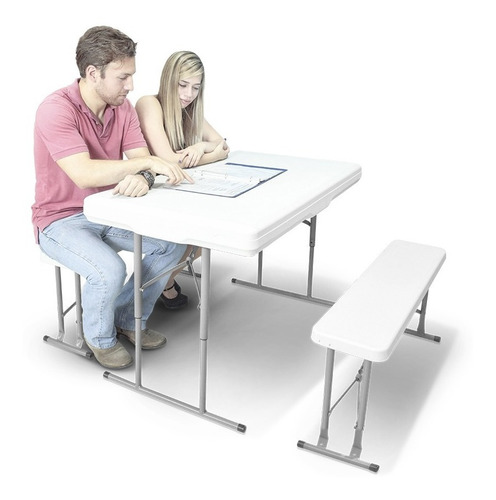 mesa plegable portatil con bancas tipo lifetime