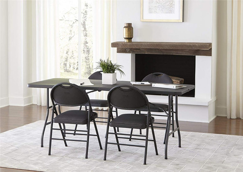 mesa plegable portatil rectangular color negro