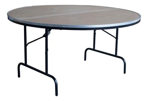 mesa plegable redonda 180cm estructura acero mdf durex