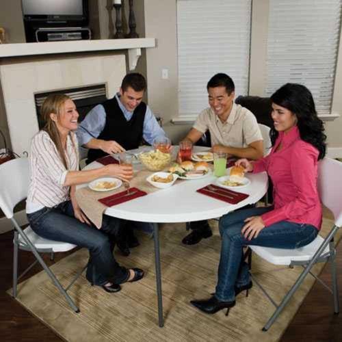 mesa plegable redonda 48  blanca - lifetime