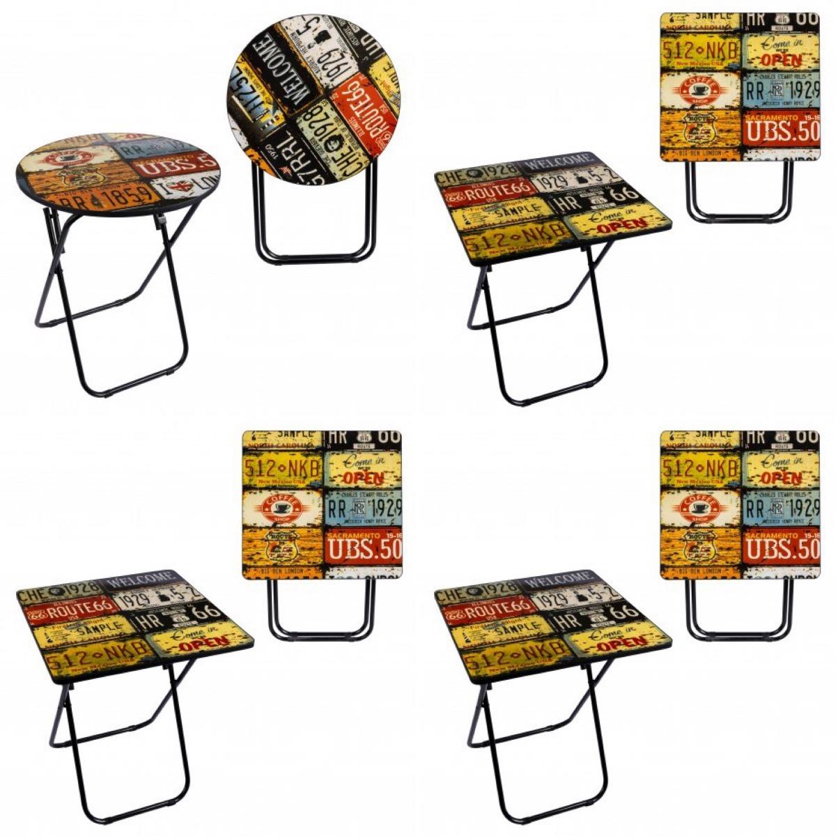 Retro Cuadrada Vintage Plegable Mesa Redonda cRq435ALSj