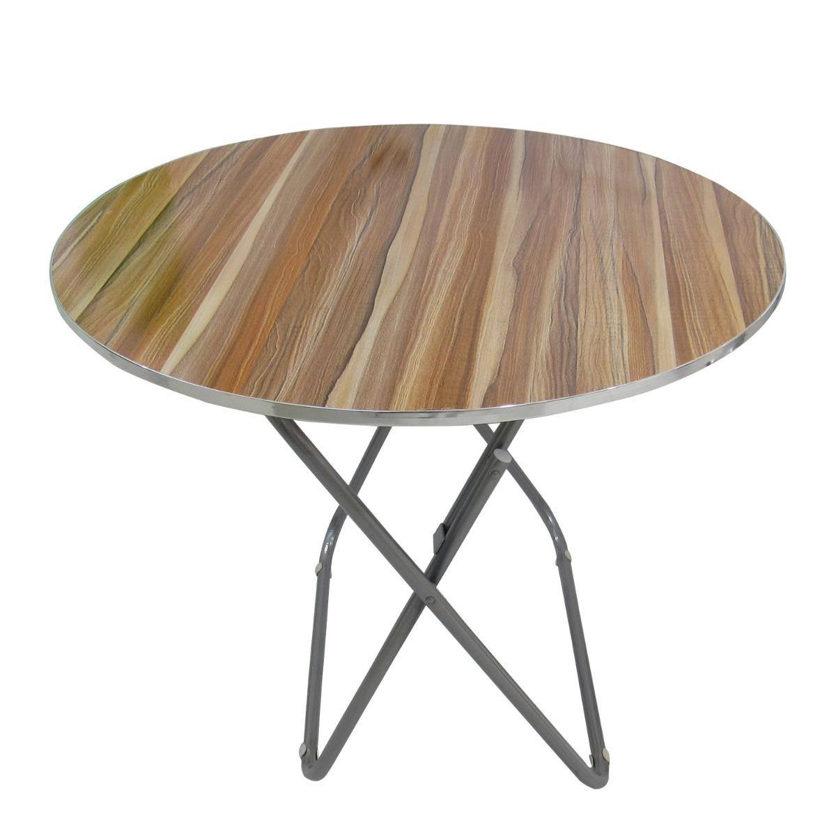 Mesa plegable redonda dise o madera raya 70cm 76529 - Mesa plegable diseno ...