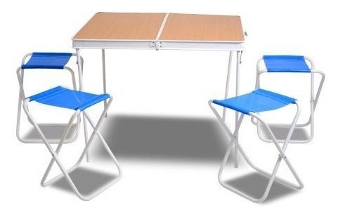 mesa plegable valija para camping solcito con 4 bancos
