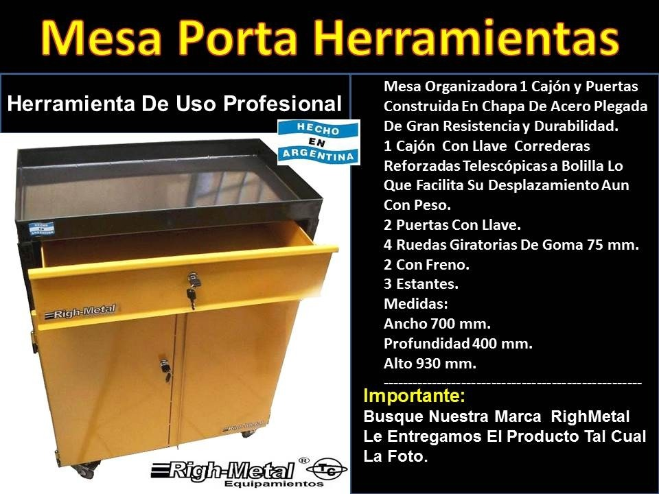 Mesa Porta Herramientas 3 Bandejas Cajon Righmetal -   6.385 184d05d48d3d