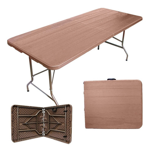 mesa portafolio plegable 180cm tipo madera plastico jardin